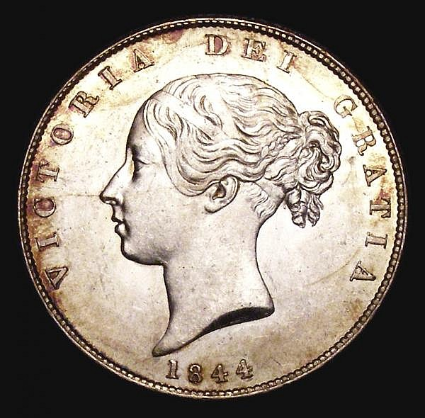 Halfcrown 1844 ESC 677 UNC and lustrous with golden tone around the rims, light contact marks barely detract