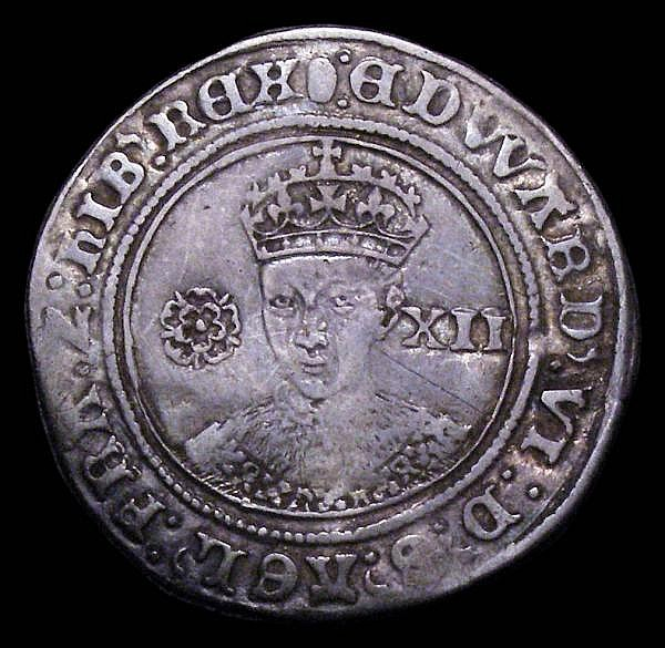 Shilling Edward VI Fine Silver Issue 1551-1553 S.2482 mintmark Tun, Fine, toned comes with old sales ticket