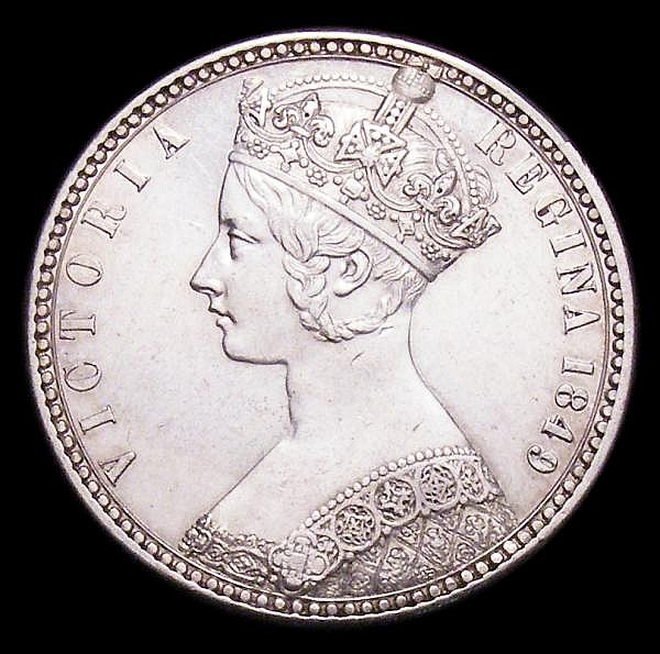 Florin 1849 WW obliterated by linear circle ESC 802A NEF the obverse with some contact marks