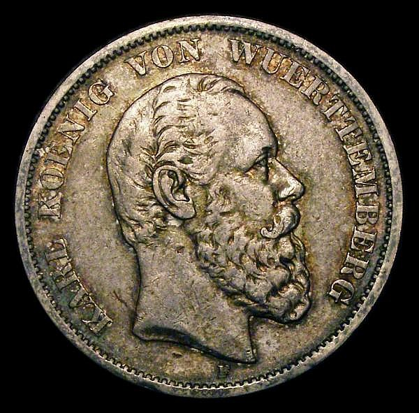 German States Wurttemberg 5 Marks 1876 F GVF