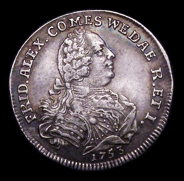 German States - Wied-Neuwied Quarter Gulden 1753 KM#56 NVF toned on a slightly wavy flan, a scarce one-year type