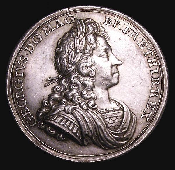 Coronation of George I 1714 34mm diameter in silver by J.Croker, Eimer 470 the official Coronation issue, Obverse Bust right armoured and draped GEORGIVS. D.G. MAG. BR. FR. ET. HIB. REX Reverse the King enthroned right is crowned by Britannia Exergue