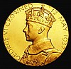 Coronation of George VI 1937 30mm diameter in gold Eimer 2046a by P.Metcalfe, The official Royal Mint issue, Brilliant and Choice UNC unusual thus, with the original red box of issue