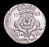 Mint Error - Mis-Strike Decimal Twenty Pence 1993 struck on a small flan of 19mm, weight 3.18 grammes, misshapen with much of the legend off flan, UNC and lustrous