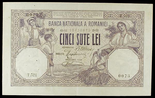 Romania 500 lei dated 1920 series T.521 0073, Pick22c, pinholes at left, GVF to EF