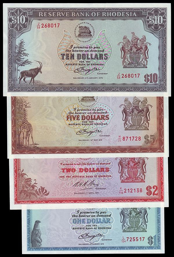 Rhodesia (4) $1 1979 Pick38a, $2 1975 Pick31k, $5 1979 Pick40a and $10 1979 Pick41a, about UNC to UNC
