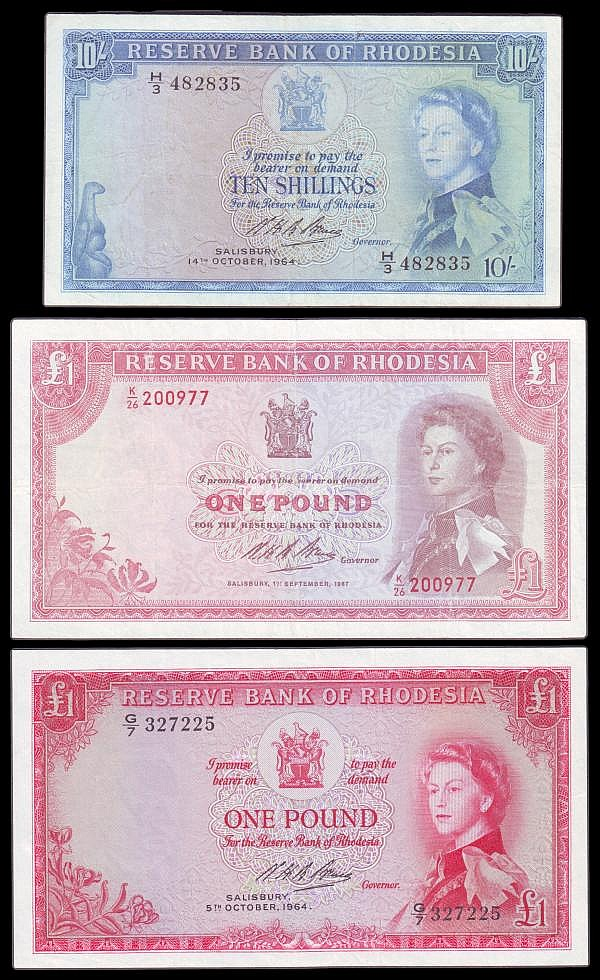 Rhodesia (3) One Pound 1964 issue Pick 25 G/7 327225 GVF, One Pound 1967 issue Pick 28 K/26 200977 VF pressed, Ten Shillings 1964 issue Pick 24 H/3 482835 Fine