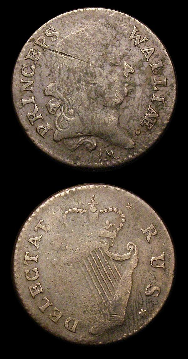 Evasions (2) Halfpenny undated, Obverse PRINCEPS WALLIAE, Reverse Irish Harp DELECTAT RUS VG/Fine for issue, Farthing 1791 Obverse ENONA ATKNE, Reverse Shield LIKETEC GATVC the last V an inverted A, Fine