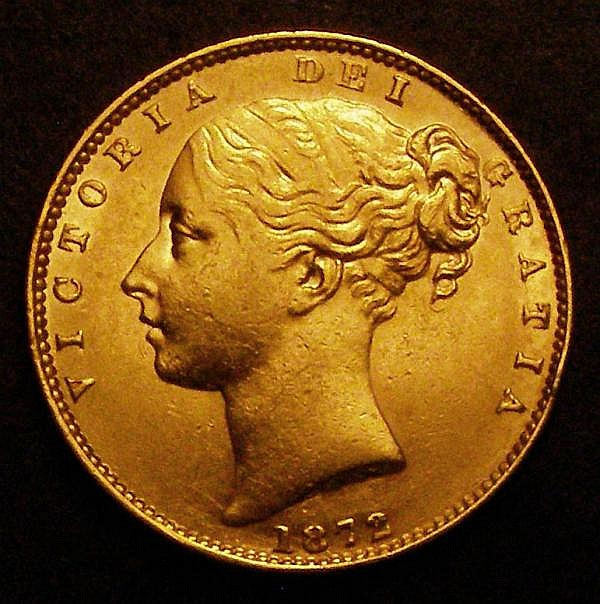 Sovereign 1872 Marsh 56 Die Number 76 NVF/VF with some small edge nicks