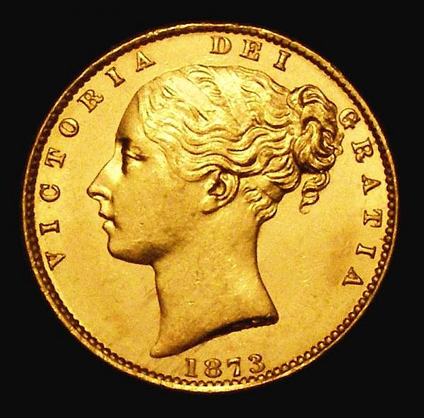 Sovereign 1873 Shield Reverse Marsh 57 Die Number 31 UNC or near so and lustrous, the obverse with minor contact marks