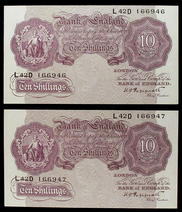Ten shillings Peppiatt mauve B251 (2) a consecutively numbered pair issued 1940, series L42D 166946 & L42D 166947, about UNC