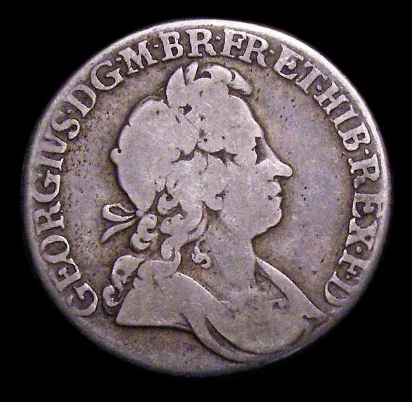 Shilling 1723 Roses and Plumes, Second Bust as ESC 1179 with unbarred H in A:TH, VG/NF