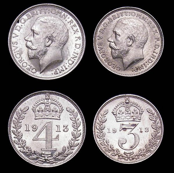Maundy Set 1913 ESC 2530 A/UNC to UNC and lustrous, the Threepence with some darker tone spots on the reverse