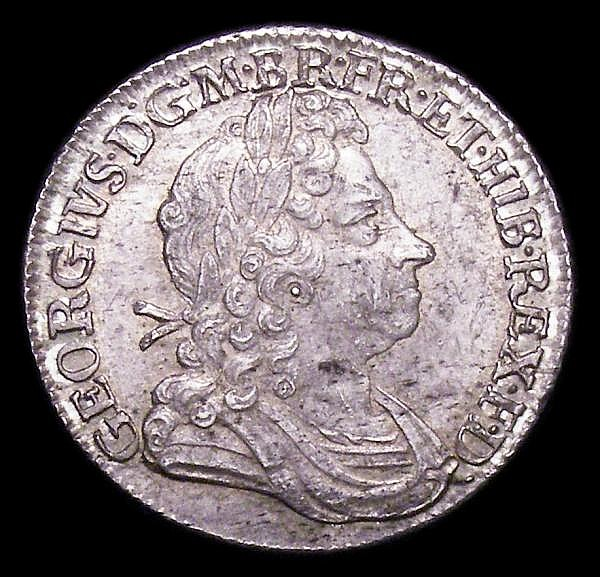 Shilling 1723 SSC First Bust, C over SS between second and third quarter GEF/EF lightly toned with light haymarking and a small edge nick at 5 o'clock reverse