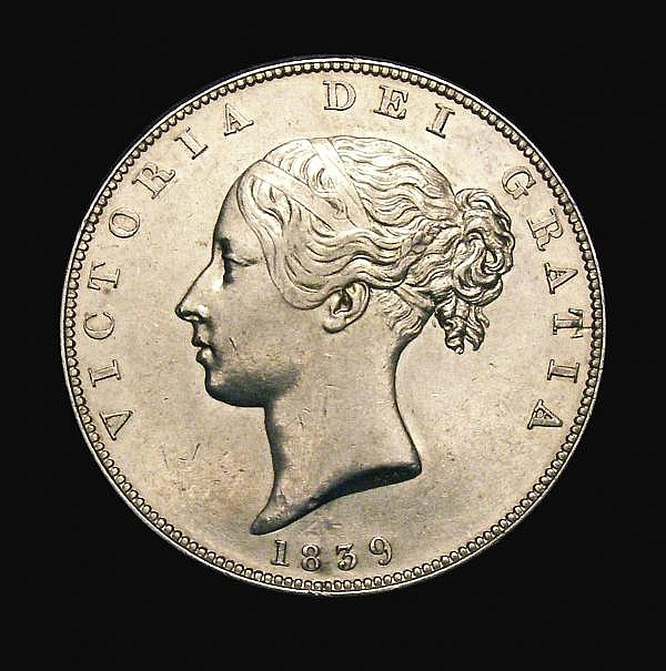 Halfcrown 1839 the rare currency issue, WW incuse, with two plain fillets, ESC 672 EF with a minor depression in the obverse field around the date area, one of the key rarities in the entire English milled series, very few examples known and seldom