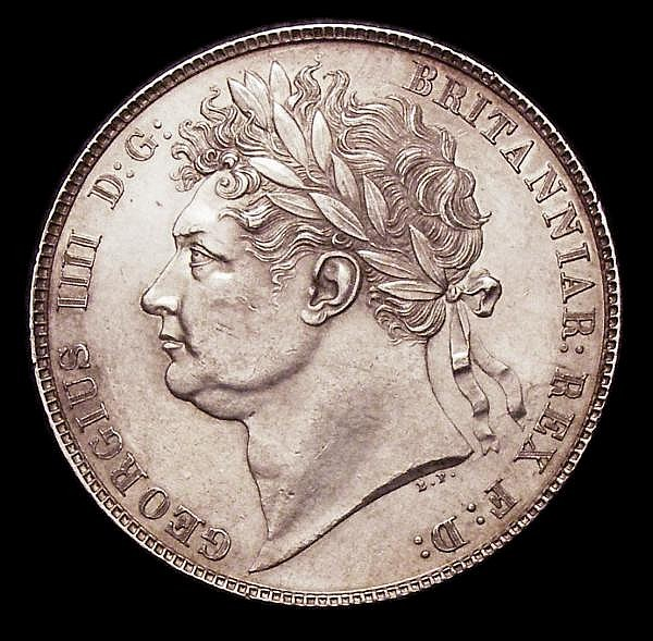 Halfcrown 1820 George IV ESC 628 A/UNC with an edge fault or flaw at 4 o'clock on the reverse