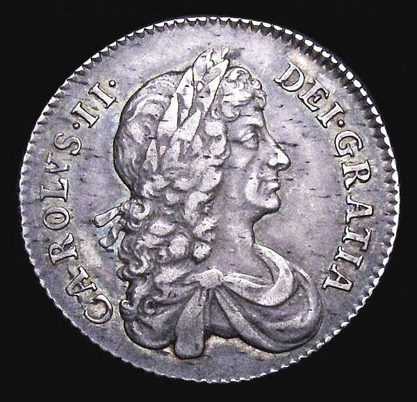 Shilling 1668 Second Bust ESC 1030 GVF the obverse with some light haymarks, the reverse with three small spots, Ex-Spink 1964