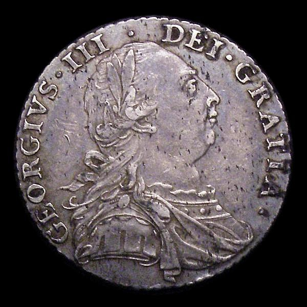 Shilling 1787 No Hearts, No stops at date ESC 1222 VF toned