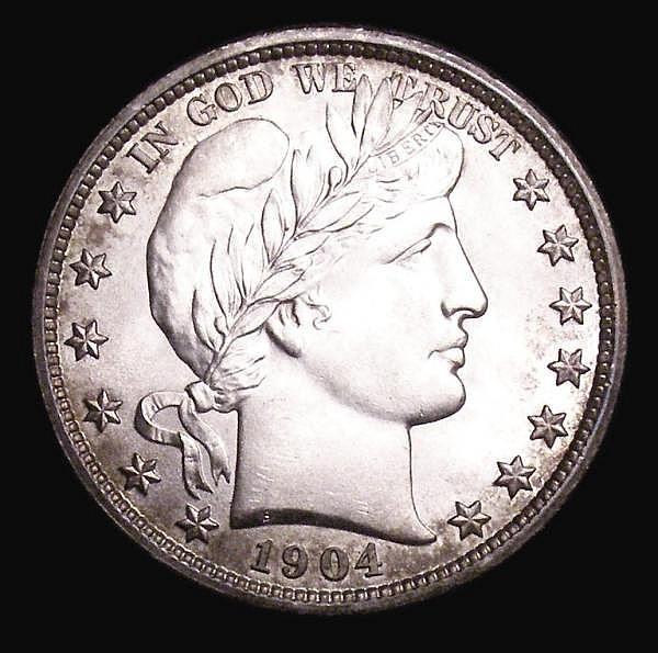 USA Half Dollar 1904 Breen 5087 Lustrous UNC and choice with an attractive light tone around the rims, a stunning example with much eye appeal