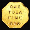 India Gold Tola undated, Bombay mint X#21, 11.66 grammes, edges scalloped, EF with an edge nick