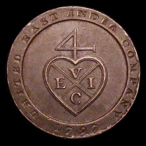 India - Madras Presidency 1/96 Rupee 1797 KM#397 VF scarce