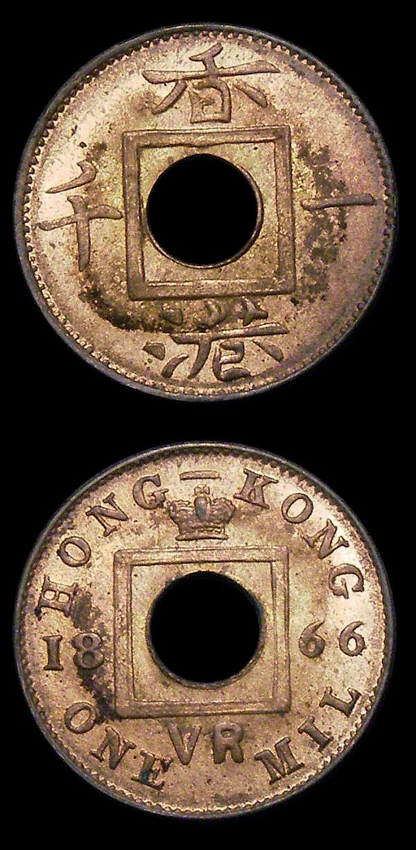 Hong Kong Mil 1866 KM#3 (2) UNC and lustrous, starting to tone