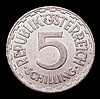 Austria 5 Schilling 1957 KM#2879 EF with surface marks and small scratches, the key date in this short series