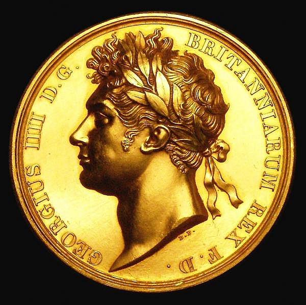 Coronation of King George IV 1821 The official Royal Mint issue 35mm diameter in gold by Pistrucci, Eimer 1146a, Obverse Bust Left Laureate, Reverse George IV enthroned, left, crowned by Victory, behind, before him stand Britannia, Hibernia and
