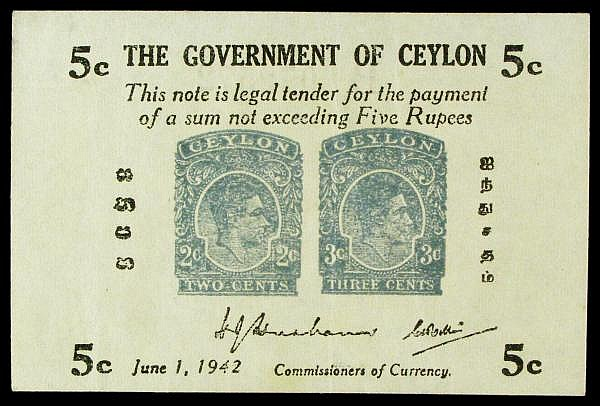 Ceylon 5 cents dated 1st June 1942 series B072572, KGVI portrait shown on a 2 cent and 3 cent postage stamp vignette, Pick42a, a few marks GVF to EF