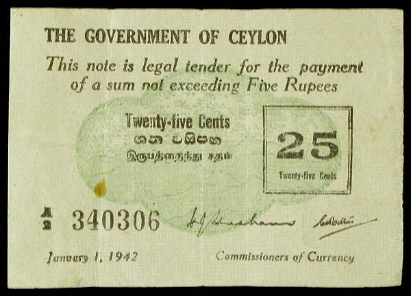 Ceylon 25 cents dated 1st January 1942 series A/2 340306, Pick40, rust mark & tiny pinholes, VF
