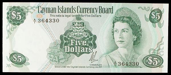Cayman Islands $5 dated L.1971 first series A/1 364330, Pick2a, UNC