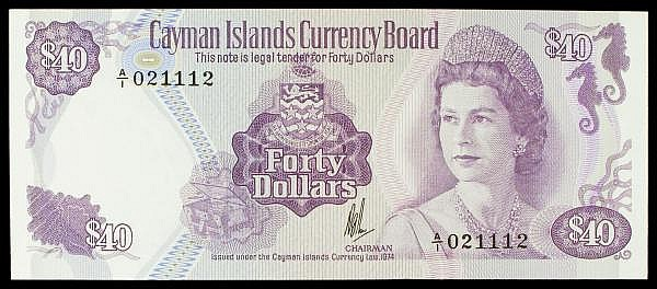 Cayman Islands $40 dated L.1974 (issued 1981), first series A/1 021112, QE2 portrait at right, Pick9a, UNC