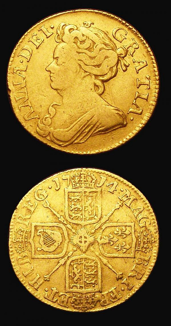 Guineas (2) 1688 Elephant and Castle below bust S.3403 the first 8 struck over a lower 8 Good Fine with some edge nicks and contact marks, 1714 Anne S.3574 About Fine/VG