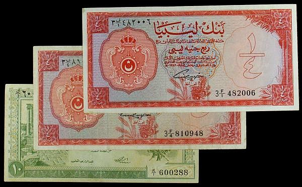Libya (3) Quarter Pound 1963 Pick 23 (2) NEF and VG, 10 Piastres 1951 Pick 6 Good Vf with a couple of rust spots and a pinhole