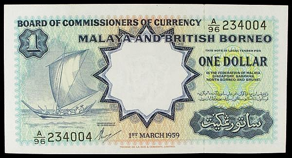 Malaya and British Borneo $1 dated 1959 series A/56 234004, TDLR printers, Pick8Aa, almost EF