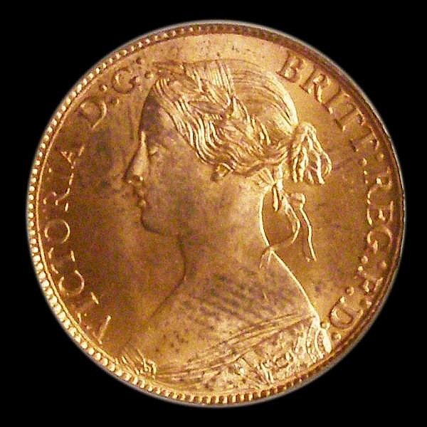 Farthing 1862 Small 8 in date Freeman 507 Choice UNC, slabbed and graded LCGS 91, the joint finest known of 22 examples thus far recorded by the LCGS Population Report. Very few currency coins achieve this grade and are very desirable on the rare