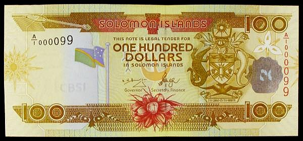 Solomon Islands $100 issued 2006 1st signature type, Pick30, fancy low serial number A/1 000099, UNC