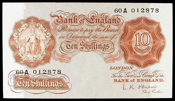 Ten Shillings O'Brien B272 60A 012878 NEF