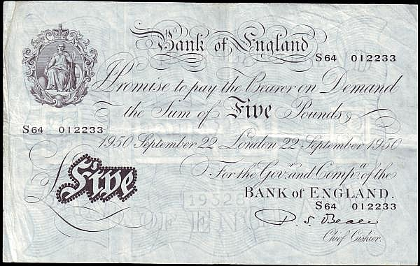 Five pounds Beale white B270 dated 22nd September 1950 series S64 012233 Pick344, dirt left edge, good Fine