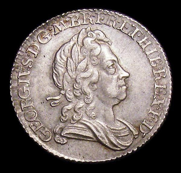 Sixpence 1723 SSC Smaller letters on obverse, as ESC 1600 with S over sideways S in GEORGIVS NEF