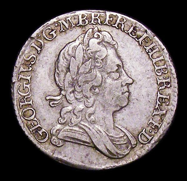 Sixpence 1717 Roses and Plumes ESC 1597 Good Fine/Fine, scarce