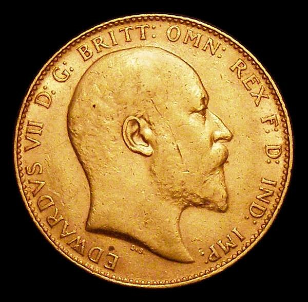 Sovereign 1906 Marsh 178 VF with an old scratch on the portrait