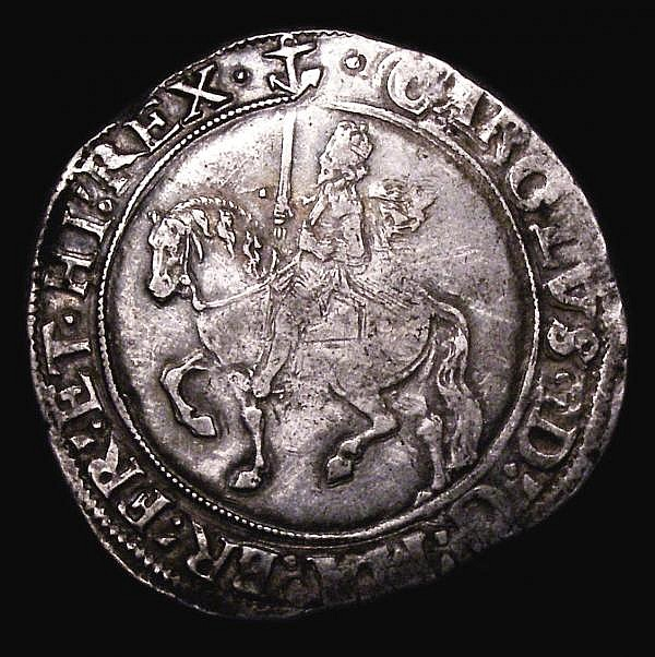 Halfcrown Charles I Group III, third horseman, Group 3a2, S.2775 mintmark Anchor, this strangle formed on the reverse, possibly overstruck (?) Fine or better with some double striking to the obverse