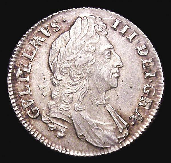 Shilling 1696 First Bust ESC 1078 EF the reverse with some light haymarking