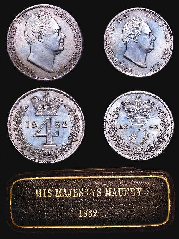 Maundy Set 1832 ESC 2439 VF to EF the Penny with some scratches, housed in a dated case with 'HIS MAJESTYS MAUNDY 1832' on the lid, these early dated boxes very rare