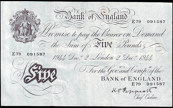 Five pounds Peppiatt white thick paper B255 dated 2nd December 1944, series E79 091587, VF to GVF