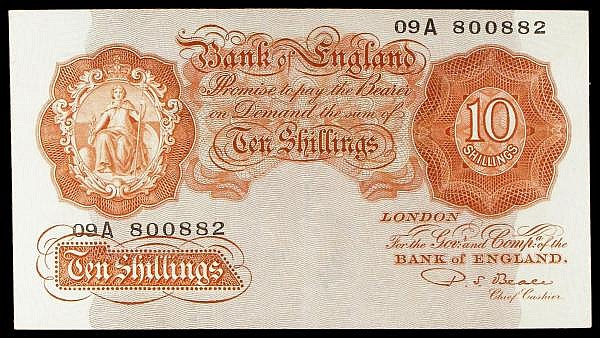Ten shillings Beale B267 issued 1950, replacement series 09A 800882, Pick368br, cleaned & pressed, looks EF