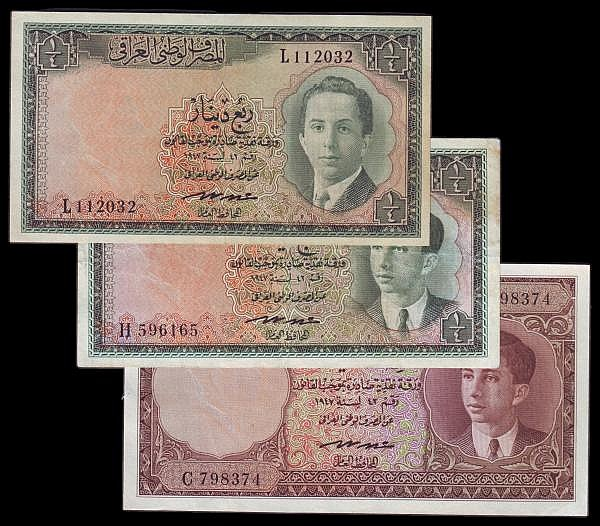 Iraq (3) Half Dinar 1947 (1950) Pick 28 EF, Quarter Dinars 1947 (1950) (2) Pick 27 both Fine