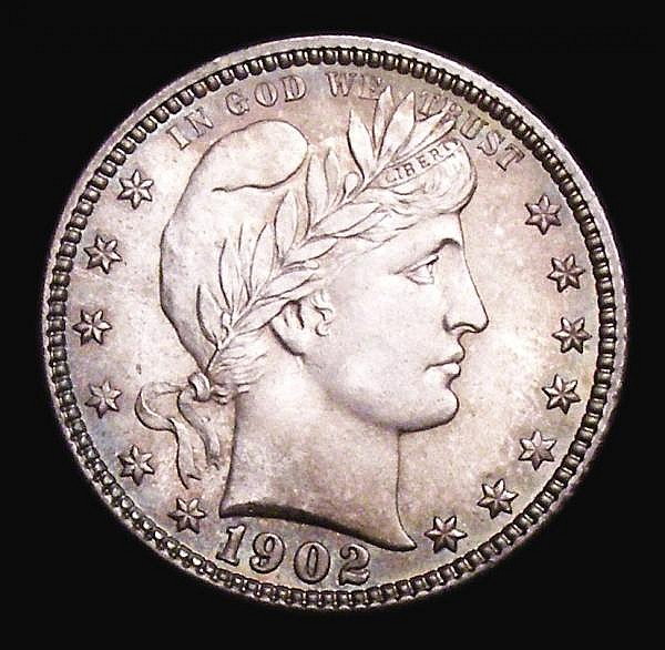USA Quarter Dollar 1902 Breen 4172 Choice UNC and beautifully toned