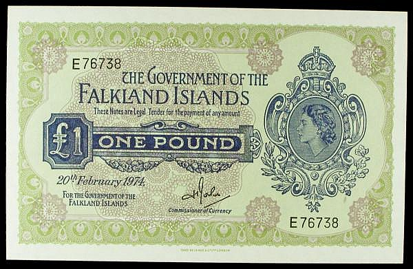 Falkland Islands 1 dated 20th February 1974 series E76738. Pick8b, small print error in paper causing a small indentation at lower right, UNC